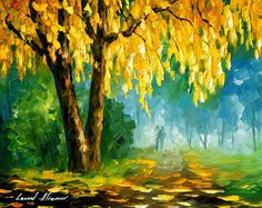 "The Leaves That Never Fall — PALETTE KNIFE Landscape Wall Art Oil Painting On Canvas By Leonid Afremov - Size: 24"" x 20"" (60 cm x 50 cm)"