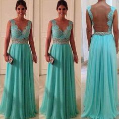 V-Neck Prom Dress Gown Lace Vestidos Chiffon Party Evening Dresses picture from Suzhou Leader Apparel Co. view photo of Prom Dress, Evening Dress, Dress.Contact China Suppliers for More Products and Price. Prom Dresses Blue, Pretty Dresses, Beautiful Dresses, Formal Dresses, Wedding Dresses, Gorgeous Dress, Dresses 2014, Dress Prom, Tiffany Blue Bridesmaid Dresses