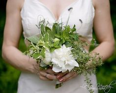 sage, mint and gardenia bouquet | bouquet with herbs like sage, mint, rosemary with a magnolia or peony ...