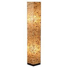 Column-style floor lamp with capiz shell detail.    Product: Floor lampConstruction Material: Fiber glass and capiz shellColor: Natural and blackFeatures:   84 Electrical cord with on/off switch included  Accommodates: (2)  40 or 60 Watt bulbs - not includedDimensions: 53 H x 8 W x 8 D