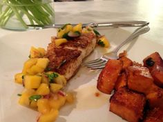 Recipes for whole meal! Blackened fish, mango salsa, sweet potato hash.