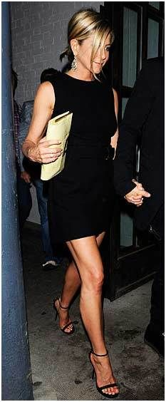 jennifer aniston. lbd & strappy black heels! she is so hot from head to sexy toes!!