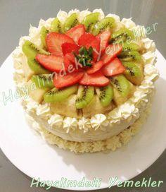 Meyveli Yaş Pasta | Resimli Yemek Tarifleri Hayalimdeki Yemekler Beautiful Cakes, Amazing Cakes, Yummy Cakes, Waffles, Food And Drink, Birthday Cake, Sweets, My Favorite Things, Cooking