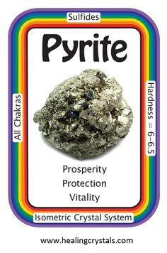 "Pyrite ""I succeed in all my endeavors."" It can help to forge an energetic connection between the Root, Solar Plexus, and Third Eye Chakras, which brings ideas from the higher self down through the seat of the will, and ground it into reality"