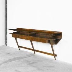 Ico Parisi, Pau Rosa Wall-Mounted Console for Spartaco Brugnoli, c1950.
