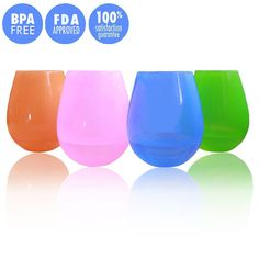 Jypc 4PCS Premium Food Grade Clear Shatterproof Reusable Outdoor Living Silicone Wine Glasses (4 Colors,12 OZ). Size:9 oz:6.5*6.5*36cm,12 oz:7*7*40cm. Premium food Grade silicone,FDA approved silicone. High temperature resistance:-40℃+230℃. Super flexibility and stability,unbreakable&crack-proof. Elegant stemless design and a smooth bottom of the design is conducive display.