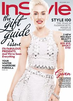 Cover girl: Gwen Stefani in a Carolina Herrera top and skirt on the cover of the December issue of InStyle