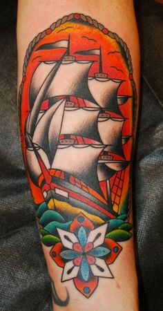 tattoo old school / traditional nautic ink - caravel