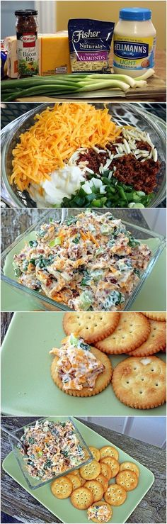 Neiman Marcus Dip 6 green onions chopped 8 oz shredded cheddar 1 cups mayonnaise 1 jar Hormel Real Bacon Bits 1 pkg slivered almonds Mix all ingredients together. Chill for 2 hours. Serve with crackers. Think Food, I Love Food, Good Food, Yummy Food, Yummy Taco, Yummy Appetizers, Appetizer Recipes, Dip Recipes, Recipies