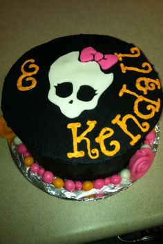 """Monster High Birthday - Kendall says she wants this cake because it says """"Kendall""""."""