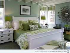 15 Bedrooms with Lime Green Accents. Love the pops of lime green with the seagreen walls, who would of thought!!