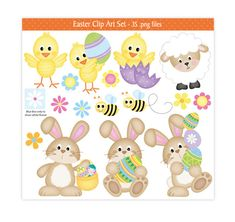 This high quality adorable Easter clip art set is great for all your craft projects. You could design your own greeting cards, Easter activity sets, Easter egg hunt sets, invitations, gift tags, childrens craft projects and lots more.  This Easter set is supplied as 3 compressed zip files and includes:- 35 .png files with transparent backgrounds 4 digital papers (12 x 12) jpeg files 1 background (12 x 12) jpeg files  All files are high resolution (300dpi) and no watermark will appear on…