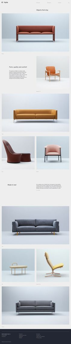 Hjelle http://mindsparklemag.com/website/hjelle/ Hjelle creates beautiful design interior furniture seats in minimal danish scandinavian style. The new website is made by webdesign agency Heydays.