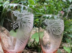 Pink fairy glassware - set of two hand engraved water goblets - iced tea glasses  - stemware barware drinkware entertaining for the home