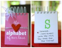 The Alphabet of Our Love and other DIY expressions of love. Great Valentines Day gift idea