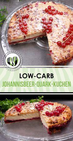 Der Johannisbeer-Quark-Kuchen ist lecker, low-carb und glutenfrei. Der perfekte low-carb Snack.