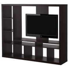 EXPEDIT TV storage unit - black-brown - IKEA, for separating bedroom/livingroom
