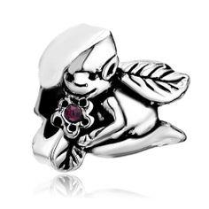 Cute Fairy Leaf Like Wings Holding Flower Red Rhinestone Crystal European Beads Pandora Chamilia Compatible   Charmsstory.com  #pandora #fairy #leaf #charms #leaf #chamilia