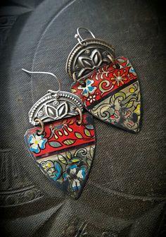 Tin Earrings Kuchi Banjara Flower Jewelry Flowers by YuccaBloom