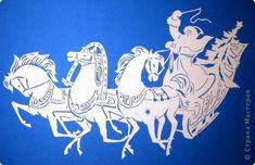 Картина панно рисунок Новый год Вырезание Тройка Бумага фото 1