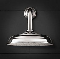 "RH's 8"" Round Wall-Mount Rain Showerhead:Showerhead  is hand-polished featuring richly plated finishes, and coordinates perfectly with any of our bath hardware collections."
