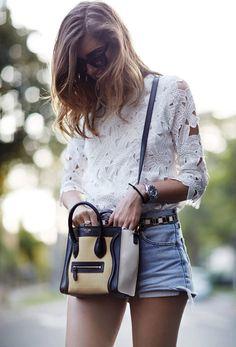 White Half Sleeve Floral Crochet Blouse