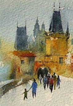 Watercolors by Maria Stezhko (Акварели Марии Стежко): Prague scene