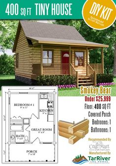 Highly affordable small and tiny log cabin kits that you can assemble yourself in days! Small Log Cabin Kits, Tiny Log Cabins, Small Cabin Plans, Log Cabin Floor Plans, Tiny House Cabin, Tiny House Design, Small House Plans, Prefab Cabin Kits, Tiny House Kits