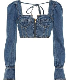 Crop Top Outfits, Sexy Outfits, Cute Outfits, Fashion Outfits, Womens Fashion, Denim Top Outfit, Bustier Top Outfits, Cropped Tops, Denim Crop Top