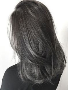 Hey everyone, I have coarse Asian hair, medium length that is dark brown/black. Bottom half was dyed black and my roots are going in (down to the top of my ears) and I'm wondering how I can achieve a charcoal grey colour or tint like these...