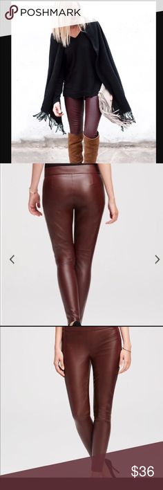 🍂SALE🍂Burgundy Deep Red Faux Leather Pants Beautiful faux leather pants, perfect fall statement! Banana Republic Pants Skinny