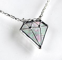 Diamond Shape Stained Glass Necklace. Starting at $10 on Tophatter.com!
