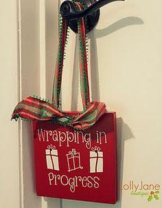 wrapping in progress door knob sign