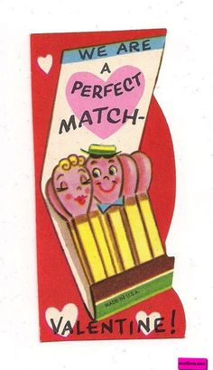 'We Are A Perfect Match.' Vintage Valentine Card. suzilove.com