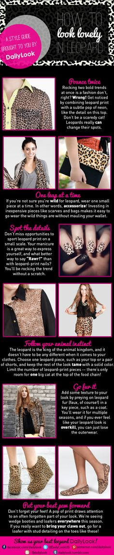 How to Look Lovely in Leopard: A Style Guide Brought to You by DailyLook. Click the image link to shop these items! @dailylook #dailylook #dailylooksugarandspice #fashion #style #clothes #accessories #leopard #leopardprint