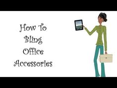 How To Bling Office Accessories At Home With Nikki, Office Accessories, Fun At Work, Office Organization, Stationery, Hair Beauty, Bling, Crafty, Clothing