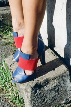 Wythe Avenue - Neckbreakin' Style  blue and red heels, paola hernandez