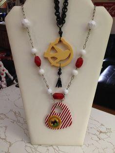 More creations of mine, bakelite bird and lucite scottie pendants.