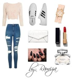 """Fashion"" by hadzic-ramiza ❤ liked on Polyvore featuring Topshop, Coast, adidas, Chanel, Gucci, LULUS and Michele"