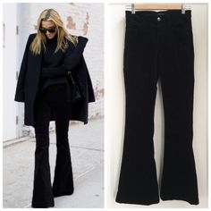 """J Brand Velvet Bell Bottoms size 25 inseam 31.5"""" J Brand black Martini velvet bell bottoms in size 25. These have been hemmed to a 31.5"""" inseam. Super comfy stretch velvet. The velvet does have some vertical lines probably from being stored in a drawer, might come out with wear (see the third pic, it's a bit hard to photograph). Actual waist is 13.5"""" across laying flat but these have stretch as well. Fitted through the leg and flares below the knee for e lean silhouette. J Brand Jeans Flare…"""