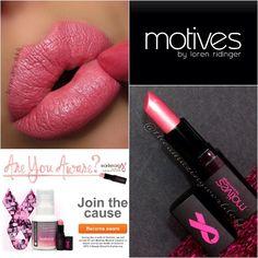 "Are you aware? #motivescosmetics ""aware"" lipstick will donate $1 to Earlier.org. Look created by #theamazingworldofj."