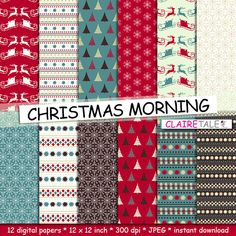 """Buy Christmas digital paper: """"CHRISTMAS MORNING"""" christmas backgrounds with deers, santa, snowflakes, christmas trees by clairetale. Explore more products on http://clairetale.etsy.com"""