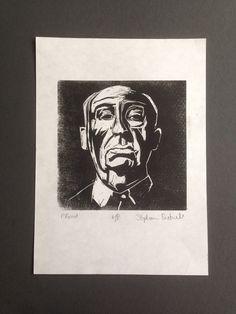 Alfred Hitchcock Linocut Print by GhastlyStephanie on Etsy