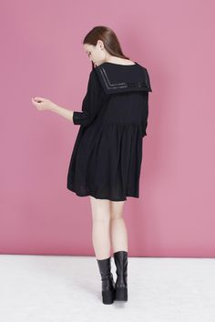 3/4 Sleeve Sailor Dress Black - THE WHITEPEPPER Autumn 13 http://www.thewhitepepper.com/collections/new-in/products/3-4-sleeve-sailor-dress-black