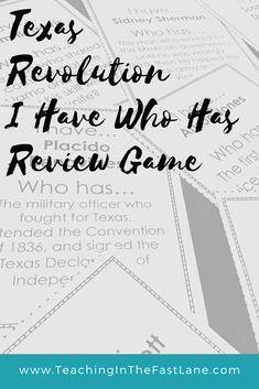 """This product is review game for the Texas Revolution in the style of """"I Have.. Who Has...?""""   Included are 24 question and answer cards so that every student can participate in this round-robin style review game. This game is a great way to review content material as well as practice listening skills and patience.   My students love to play this game and it helps them to remember facts about the Texas Revolution. Instructional Strategies, Teaching Strategies, Teaching Resources, Texas Revolution, Texas Teacher, Review Games, Texas History, Listening Skills, Student Engagement"""