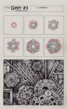 New tangle patterns 'Geer No. Two' and 'Geer No. Three' – Steampunk Series #zentangle | lifeimitatesdoodles