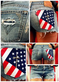 All American Shorts with American Flag Pocket by ingeniousfashion, $39.95