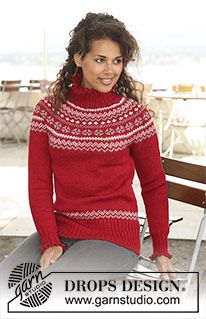 """Merry Casandra - DROPS jumper in """"Karisma"""" with circular yoke and Norwegian pattern. Size XS to XXXL - Free pattern by DROPS Design Fair Isle Knitting Patterns, Fair Isle Pattern, Jumper Patterns, Knit Patterns, Tejido Fair Isle, Laine Drops, Pull Jacquard, Icelandic Sweaters, Drops Design"""
