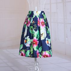 2015 New listing summer Europe skirt floral printed elegant pleated midi skirts for women satin high quality tutu hot selling Price: US $15.68