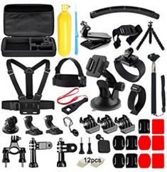 Soft Digits 50 in 1 Action Camera Accessories Kit for GoPro Hero 5 4 3 3 2 1 with Carrying Case/Chest Strap/Octopus Tripod ** Check out this great product. (This is an affiliate link) Gopro 6, Gopro Case, Gopro Hero 5, Gopro Accessories, Photo Accessories, Octopus, Remo, Photo Equipment, Go Pro